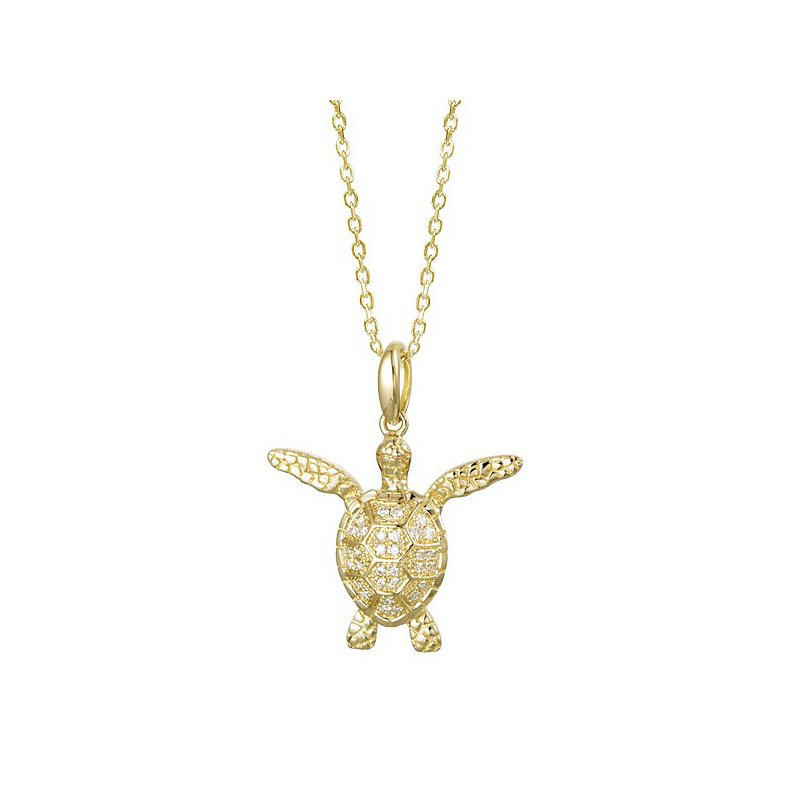 Sealife Jewelry 14k Yellow Gold Alamea Hawaii Turtle Pendant with Diamonds