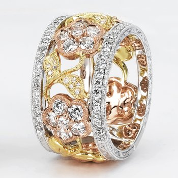 18k Tri-Color Gold Diamond Band - #38591