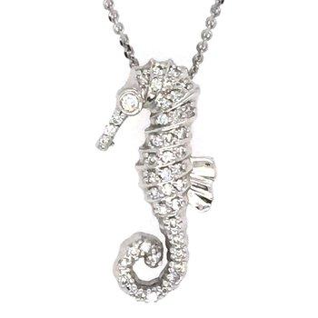 14k White Gold Diamond Seahorse Pendant