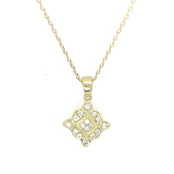 14k Yellow Gold Vintage Inspired Diamond Pendant