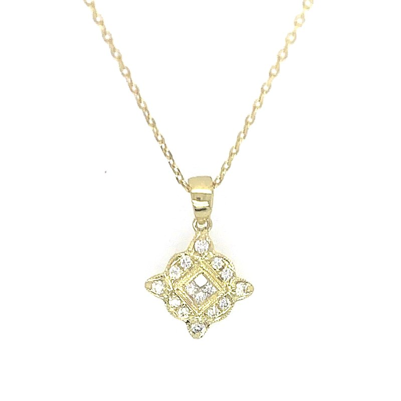 Signature Collection 14k Yellow Gold Vintage Inspired Diamond Pendant
