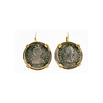 Genuine Spanish 1/2 Real Silver Bust Coins framed in 14k Yellow Gold