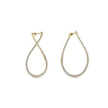 Gabriel NY 14k Yellow Gold Lusso Diamond Hoop Earrings