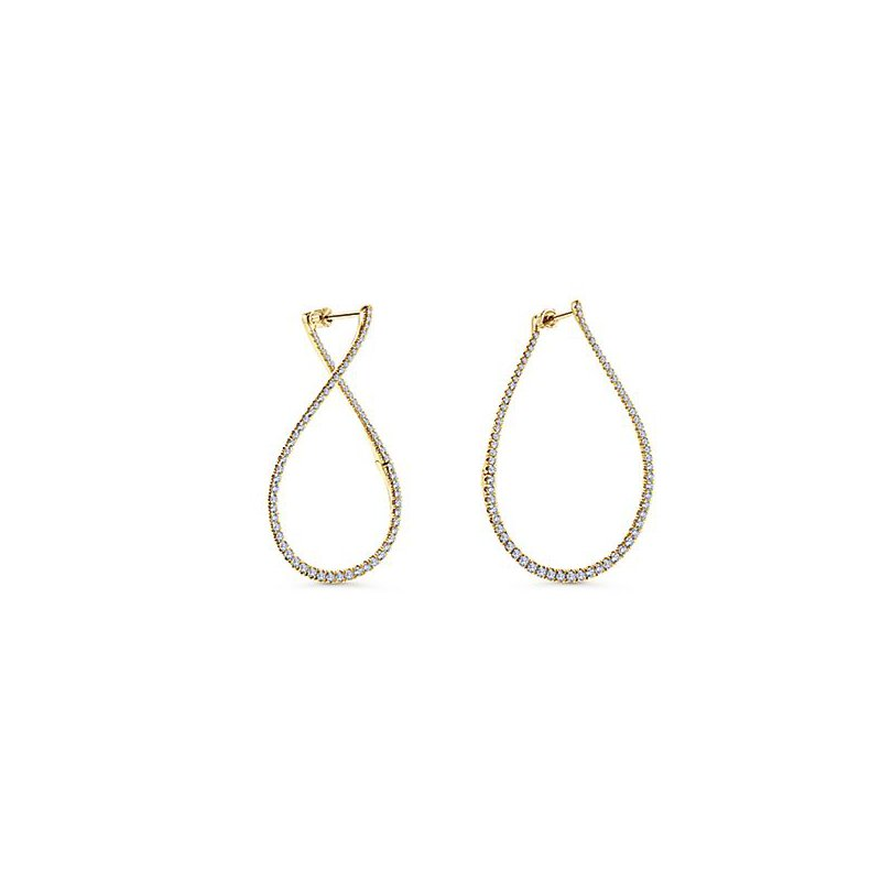 Signature Collection Gabriel NY 14k Yellow Gold Lusso Diamond Hoop Earrings