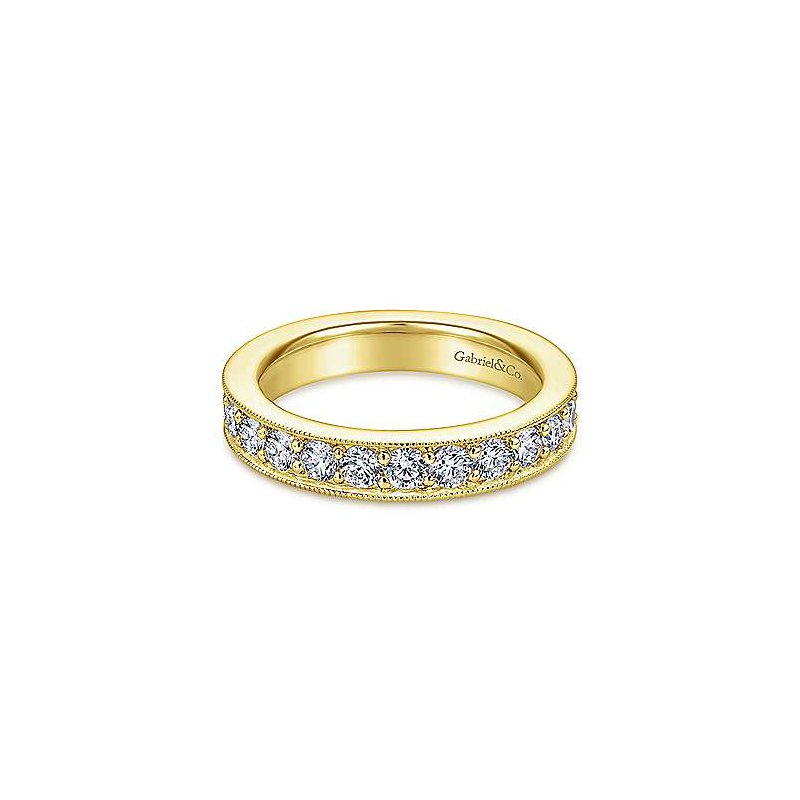 Gabriel NY 14k Yellow Gold Prong Set Channel Diamond Eternity Band Anniversary Ring by Gabriel NY