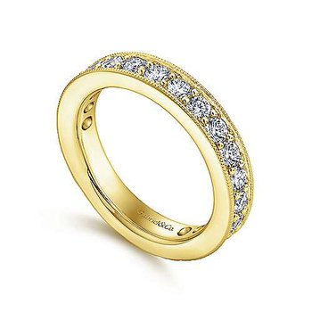 14k Yellow Gold Prong Set Channel Diamond Eternity Band Anniversary Ring by Gabriel NY