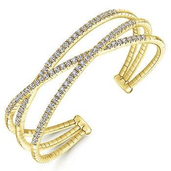 14k Yellow Gold Criss Cross Diamond Demure Bangle Bracelet by Gabriel NY