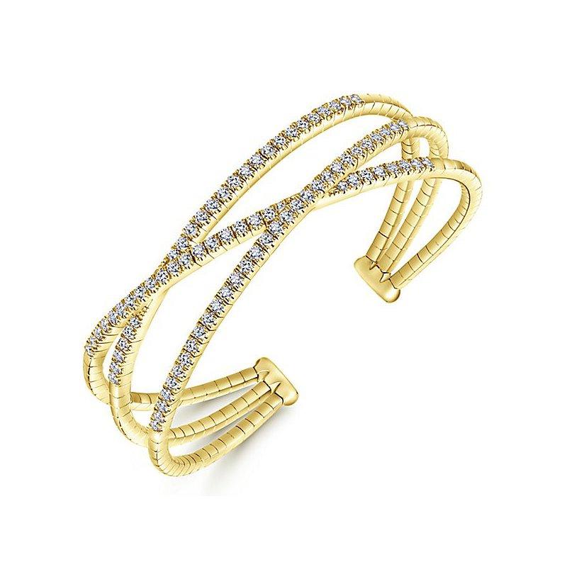 Signature Collection 14k Yellow Gold Criss Cross Diamond Demure Bangle Bracelet by Gabriel NY