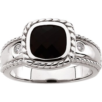 Genuine Onyx & Diamond Ring