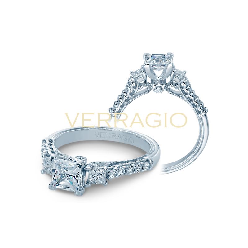 Verragio Verragio Classic V 904 P5.5 - 14k White Gold Three-Stone Princess Cut Diamond Engagement Ring