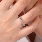 Signature Collection 14k White Gold Criss Cross Diamond Stackable Ring by Gabriel NY