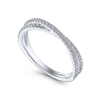 14k White Gold Criss Cross Diamond Stackable Ring by Gabriel NY