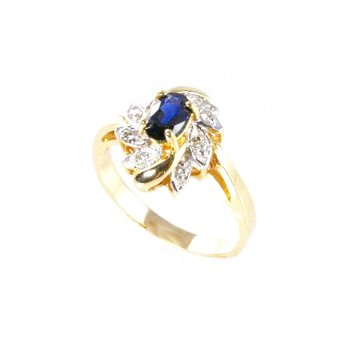 Genuine Blue Sapphire and Diamond Ring in 14k Yellow Gold - 15598