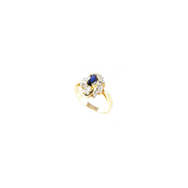 Signature Collection Genuine Blue Sapphire and Diamond Ring in 14k Yellow Gold - 15598
