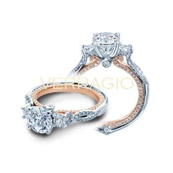 Verragio Couture 0423DR-2T - 18k White Gold 3-Stone Round Brilliant Diamond Engagement Ring by Verragio