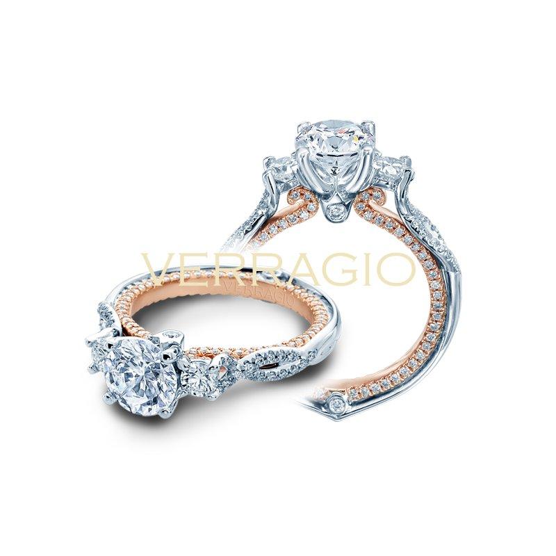 Verragio Verragio Couture 0423DR-2T - 18k White Gold 3-Stone Round Brilliant Diamond Engagement Ring by Verragio