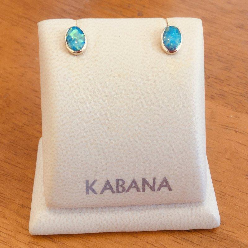 Kabana Jewelry Kabana 14k Yellow Gold Oval Australian Opal Studs
