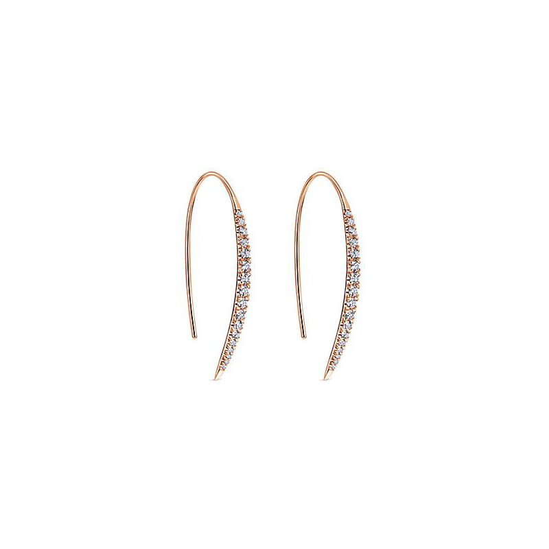 Signature Collection 14k Rose Gold Sleek Line Diamond Earrings by Gabriel NY