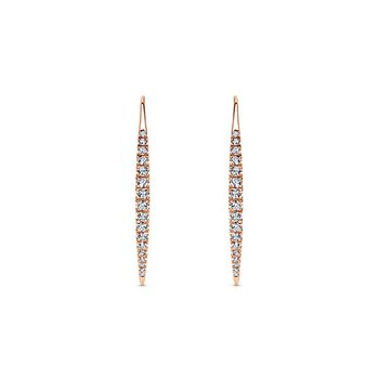 14k Rose Gold Sleek Line Diamond Earrings by Gabriel NY