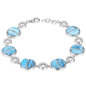 Sterling Silver Larimar Circle Bracelet with Cubic Zirconia