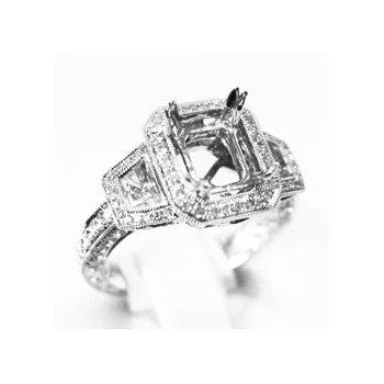 18k White Gold Diamond Engagement Ring Mounting - 37812