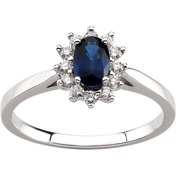Genuine Blue Sapphire & Diamond Ring - EL465134