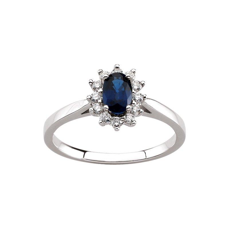 Signature Collection Genuine Blue Sapphire & Diamond Ring - EL465134