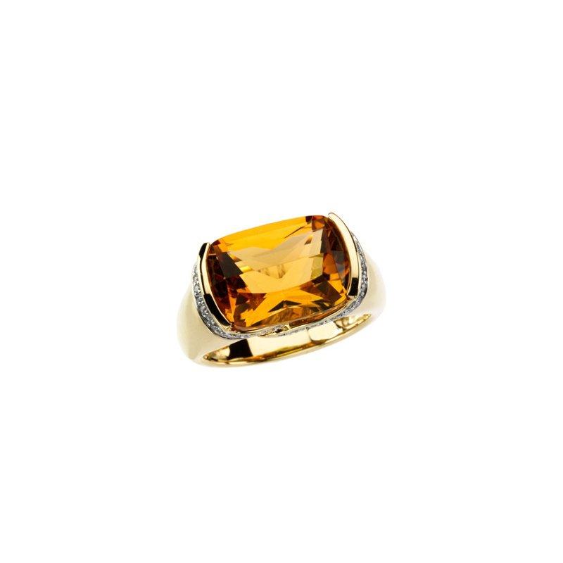 Signature Collection Genuine Citrine & Diamond Ring