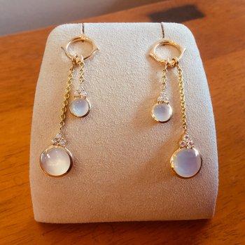 Kabana Dangle White Mother of Pearl and Diamond Earrings