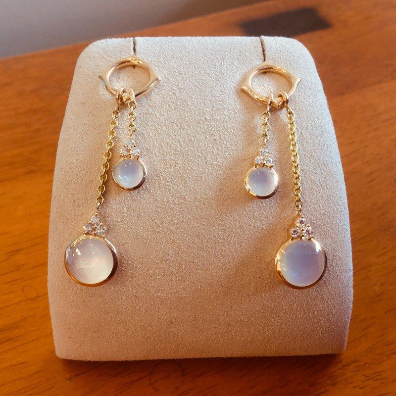 Kabana Jewelry Kabana Dangle White Mother of Pearl and Diamond Earrings