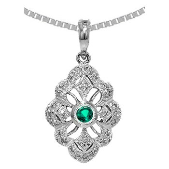 Genuine Emerald & Diamond Vintage Style Pendant in 14k White Gold - 36535