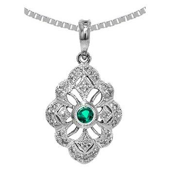 Genuine Emerald & Diamond Vintage Style Pendant in 14k White Gold - 36535