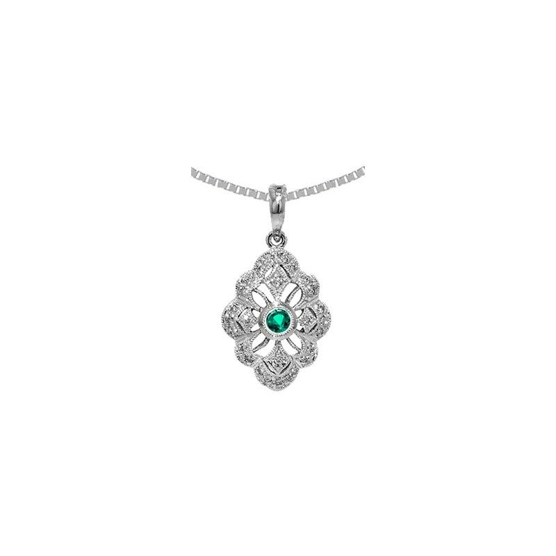 Signature Collection Genuine Emerald & Diamond Vintage Style Pendant in 14k White Gold - 36535