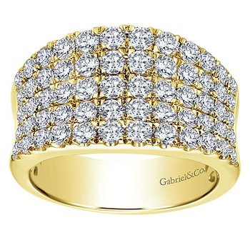 Gabriel NY 14k Yellow Gold Wide Band Diamond Anniversary Ring - Style #LR6365Y44JJ