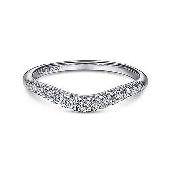 14k White Gold Curved Diamond Wedding Band by Gabriel NY