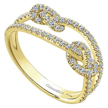 Gabriel NY 14k Yellow Gold Double Love Knot Diamond Ring - #LR51128Y45JJ