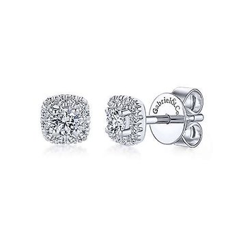 14k White Gold Cushion Diamond Stud Earrings