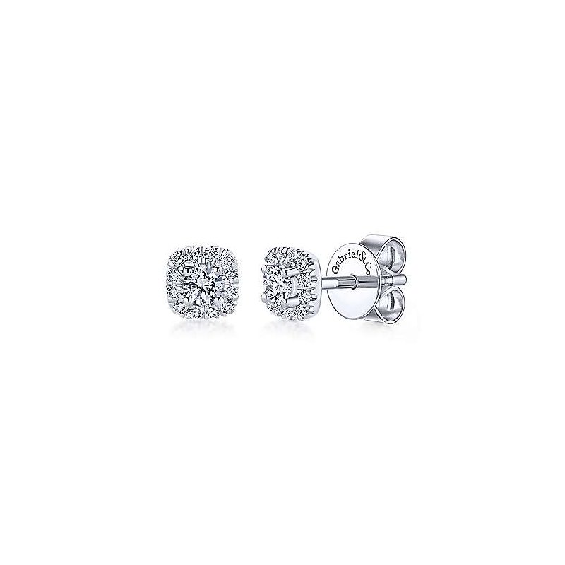 Signature Collection 14k White Gold Cushion Diamond Stud Earrings