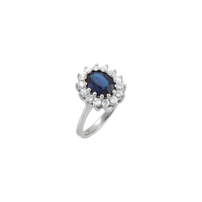 Signature Collection Ladies 14k White Gold Sapphire and Diamond Ring - ELI68377SS
