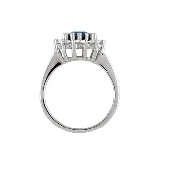 Ladies 14k White Gold Sapphire and Diamond Ring - ELI68377SS