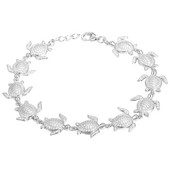 Sterling Silver Turtle Bracelet with Cubic Zirconia