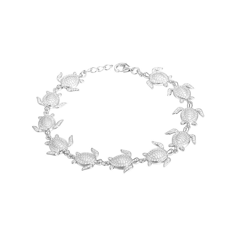 Sealife Jewelry Sterling Silver Turtle Bracelet with Cubic Zirconia