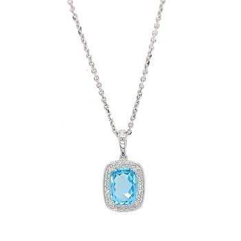 14k White Gold Cushion Halo Blue Topaz Pendant