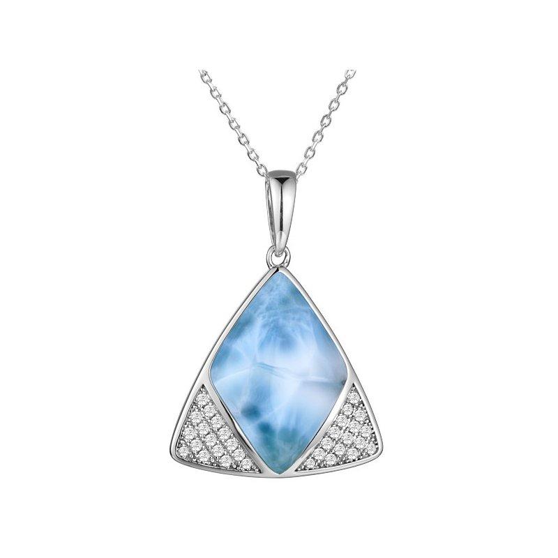 Alamea Larimar  Sterling Silver Larimar & Cubic Zirconia Triangle Pendant