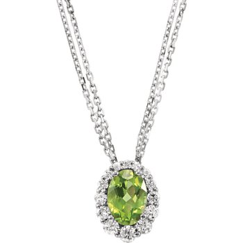 14k White Gold Oval Peridot and Diamond Halo Necklace