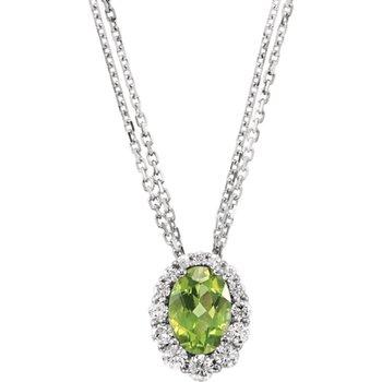14k White Gold Oval Peridot and Diamond Halo Necklace