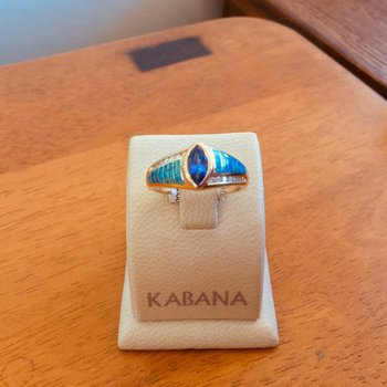 Kabana Australian Opal, Bezel Set Marquise Tanzanite and Diamond Ring - #34297