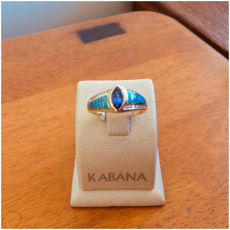 Kabana Jewelry Kabana Australian Opal, Bezel Set Marquise Tanzanite and Diamond Ring - #34297