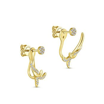 14k Yellow Gold Peek a Boo Twisted Diamond Earrings by Gabriel NY - Style #EG13421Y