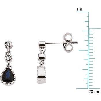 Genuine Sapphire & Diamond Earrings - EL584134